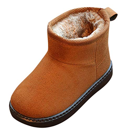 Winterstiefel für Kinder feiXIANG Lauflernschuhe Babyschuhe Kleinkind Baby Anti-Rutsch Schuhe Herbst beiläufige warme Schneeschuhe Mädchen Jungen (Braun,31)