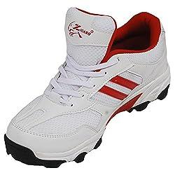 Zigaro Cricket Shoe-White Red