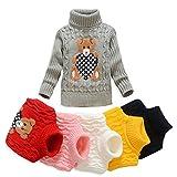 VIFUUR Enfants ours Pull à col roulé garçons filles pull en tricot pour Noël Gris 3-4 Ans...