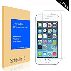 GeekerChip Verre trempé pour iPhone 5/5S/5C/SE Protecteur d'écran[2 pièces], Protection écran en Verre Trempé Films Vitre pour iPhone 5/5S/5C/SE