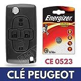 Plip Clé Boitier / Coque de Télécommande PEUGEOT 1007 807  Pile CR1620 ENERGIZER
