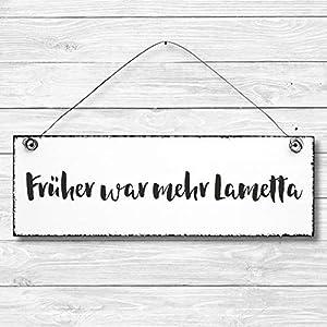 Früher war mehr Lametta – Dekoschild Türschild Wandschild aus Holz 10x30cm – Holzdeko Holzbild Deko Schild Weihnachten