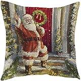 Kissenbezüge Longra Weihnachten Weihnachtsmann drucken färben Sofa Bett Home Decor Fall Kissen Kissenbezug (J)