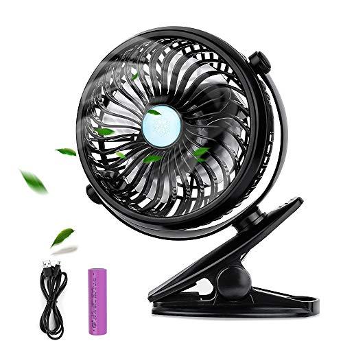 Mini Ventilateur USB , otumixx Mini Ventilateur à Clipper Ventilateur de Bureau avec Batterie Rechargeable, Réglable Vitesses Rotation à 360°, Silencieux et Portable pour Poussette Voiture Camping