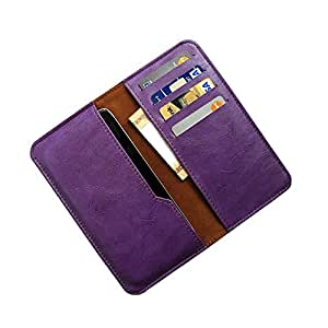 i-KitPit : PU Leather Wallet Flip Pouch Case For Intex Aqua i7 (PURPLE)