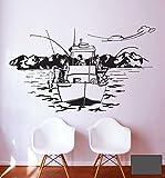 Wandtattoo Wandaufkleber Angler Angelboot Norwegen See Küste Boot M1454 - ausgewählte Farbe: *Dunkelgrau* ausgewählte Größe:*XL 120cm breit x 71cm hoch