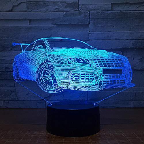 LED Nachtlicht 3D Illusion,Fernbedienung USB Nachttischlampe 7 Farben ändern Touch Switch Schreibtisch Dekor Lampen Cooler Sportwagen,Geburtstagsgeschenk-perfekte Geschenke für Kinder (Cooler Schreibtisch Spielzeug)