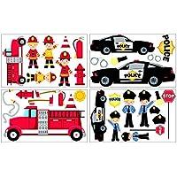 34-teiliges Feuerwehr Polizei Wandtattoo Set Kinderzimmer Babyzimmer in 3 Größen (4x16x26cm mehrfarbig)