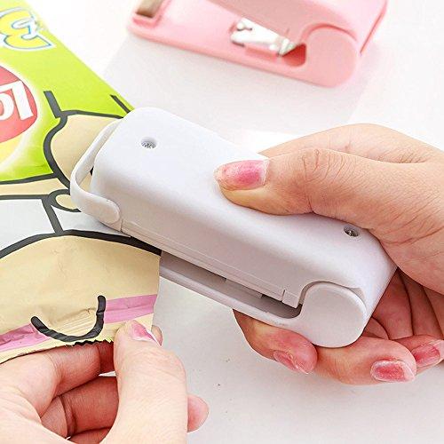 Mini Sealer Hand Folienschweißgerät Haushalt portabel tragbar Tüten Verschweißer für Plastik Verpackung von Snack, Süßigkeiten, Lebensmittel - weiß