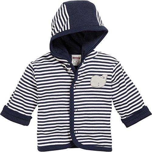 Schnizler Unisex Baby Jacke Jäckchen Wal, Geringelt, Oeko-Tex Standard 100, Blau (Marine/Weiß 171), 56