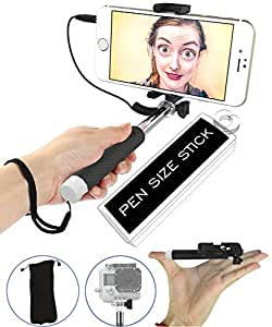 Selfie Stick, [Battery-Free] 5-in-1 Monopod with Mirror & Remote & Selfie Flash App | iPhone 6 Plus, Iphone 6 Galaxy S6 S5 GoPro POV Pole Camera | Get the Smallest Selfie Stick on the Market NOW!