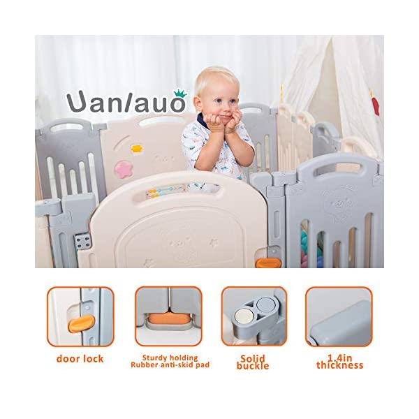 Foldable Baby Playpen Kids Activity Centre Safety Play Yard Home Indoor Outdoor Grey Uanlauo 🥉FOLDABLE & PORTABLE: Easy to storage and can be fold outdoor/indoor; Sturdy holding Rubber anti-slip pad so the yard won't go sliding around. 🥉MOM'S LIFESAVER: Keep baby safe in the baby gate there play centre when mom/dad needs to cook, clean up, do some housework, etc. 🥉Safty&Durable:BPA free Give your baby the closest contact, HDPE Material is more durable. 6