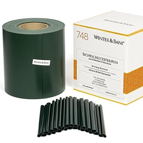 Winter & Bani ® Sichtschutzstreifen 50 Meter x 19 cm inkl. 26 Clips – diverse Farben (50 m, Grün)