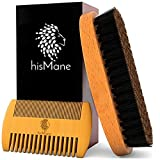 Beard & Mustache Brush and Comb Kit – 100% Boar Bristle Beard Brush & Wooden Grooming Comb - Facial Hair Care Gift Set for Men – For Applying Beard Oil & Wax for Styling, Growth & Maintenance - hisMane