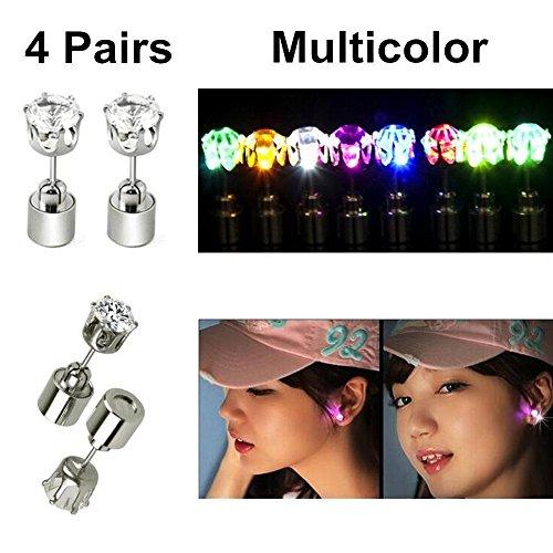 4 Paare) 4 Paare stilvolle LED Blinkende Bolzen Ohrringe Gl?nzender blinkender Kristallanh?nger f¨¹r Partei-Festival ()