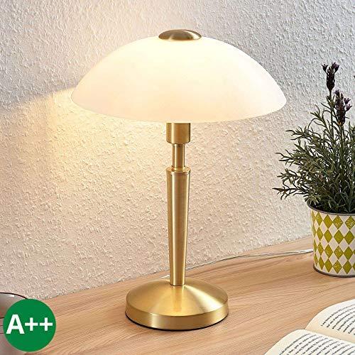 Lámpara de mesa 'Tibby' Retro, Vintage en Dorado hecho de Metal e.o. para Salón & Comedor 1 llama...