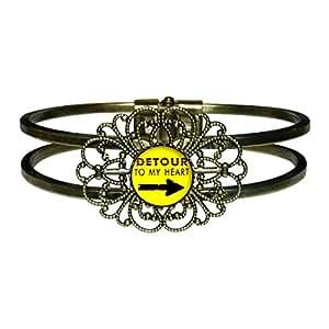 giftjewelryshop Bronze Rétro Style Detour à mon coeur fleur bracelet jonc Fashion Jewelry