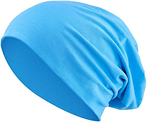 Jersey Baumwolle elastisches Long Slouch Beanie Unisex Mütze Heather in 35 (3) (Turquoise) (Long Lila Beanie)