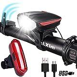 MUTANG Fahrrad Licht mit Horn, USB aufladbare LED Fahrradbeleuchtung, LED Fahrrad Licht Set Frontscheinwerfer und Rücklicht, wasserdichte Fahrradbeleuchtung für Road & Mountain (Farbe : Red)