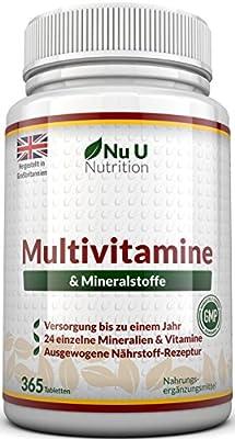 Multivitamine & Mineralien - 365 Tabletten von Nu U Nutrition 24 Vitamine und Mineralien fuer Frauen und Maenner, auch Geeignet fuer Vegetarier (Versorgung bis zu einem Jahr)