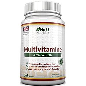 Vitamine & Mineralien | Männer & Frauen | 24 Multivitamine & Mineralstoffe in einer Tablette | Versorgung für bis zu 1 Jahr | für Vegetarier geeignet 365 Tabletten | von Nu U Nutrition