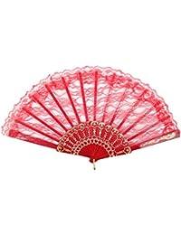 Éventail à la main Eventail accessoire danse flamenco fan fan fan de poche dentelle couleur soirée fête mariage:FAE-19 rouge