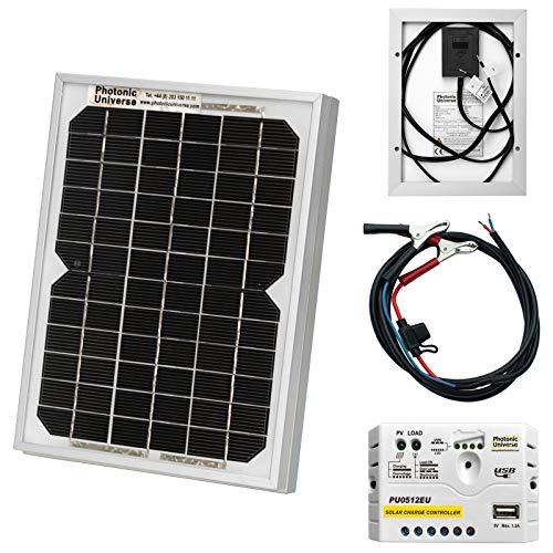Photonic Universe 5 W, 12 V, Solarzellen kit mit 5 a Laderegler, für Wohnmobile, Wohnwagen, Boote oder andere 12 V-Systeme (5 watt)
