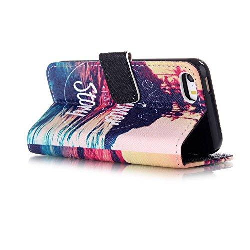 Coque pour Apple iphone SE 5 5S,Housse en cuir pour Apple iphone SE 5 5S,Ecoway Colorful imprimé étui en cuir PU Cuir Flip Magnétique Portefeuille Etui Housse de Protection Coque Étui Case Cover avec  B-3