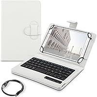 kwmobile Funda con teclado QWERTZ para 7-8 Tablet con soporte - Funda protectora de piel sintética en blanco - compatible por ej. con Apple, Samsung, Lenovo, Asus