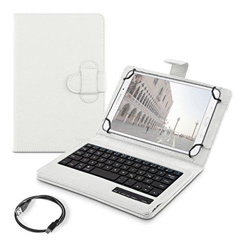 """Preisvergleich Produktbild kwmobile Hülle mit QWERTZ Tastatur für 7-8"""" Tablet mit Ständer - Kunstleder Tablet Schutzhülle in Weiß - z.B. Geeignet für Apple,  Samsung,  Lenovo,  ASUS"""
