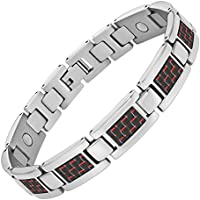 Magnetisches Armband Titan Karbonfaser rot Größe verstellen Werkzeug und Geschenkbox von Willis Judd enthalten preisvergleich bei billige-tabletten.eu