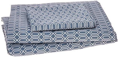Blaue Twin-blatt Set (Komfort Raum-Gedruckt Baumwolle Blatt Set, Mikrofaser, rauten - blau, Twin XL)
