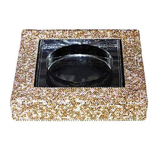 Kristallglas Aschenbecher Luxus Diamant Aschenbecher Büro Couchtisch Wohnzimmer Dekoration HENGXIAO (Farbe : Gold, größe : 19 * 19 * 4cm)