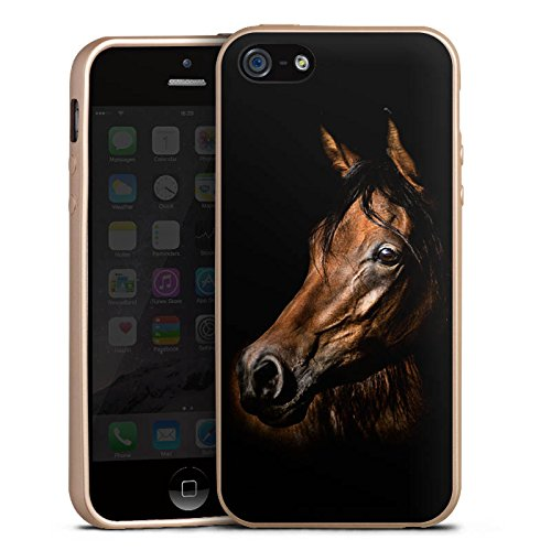 Apple iPhone SE Hülle Silikon Case Schutz Cover Pferd Horse Braun Silikon Case gold