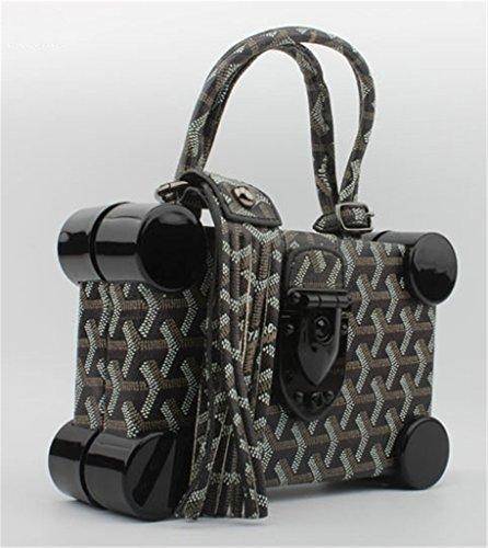 Good Night Donne Elegante Perlage modello quadrato di frizione della borsa da sera Nero