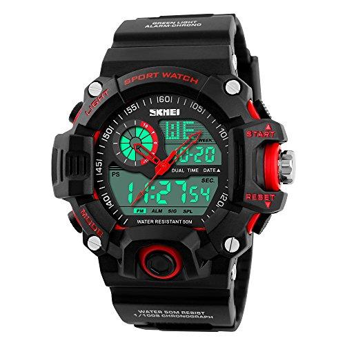 Hibote Multifunci¨®n Hombres Relojes Deportivos Creativo Reloj Rojo