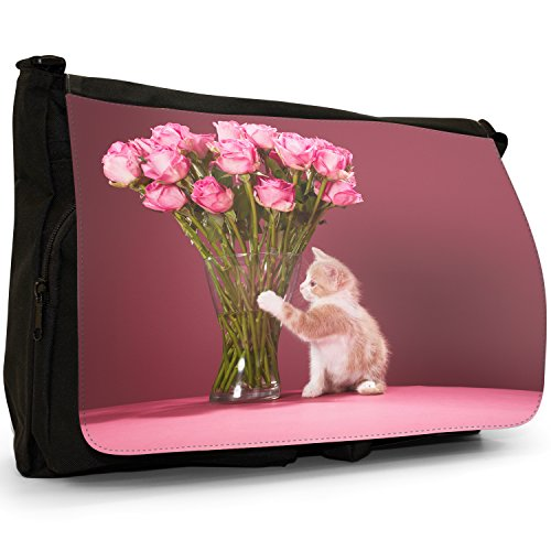 Gattini Nero Grande borsa scuola nero Cats Kitty Love