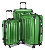HAUPTSTADTKOFFER - Alex -  4 Doppel-Rollen 3er Koffer-Set Trolley-Set Rollkoffer Reisekoffer, TSA, (S, M & L), Grün