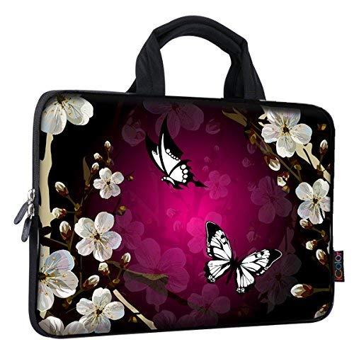 iColor Eiffelturm & Pink Roses 38,1-39,6cm Laptop Sleeve Tasche Neopren Schutzhülle für MacBook Pro HP Dell Lenovo ThinkPad ASUS Ace MacBook Air (fy-ps15-24) Black White Butterfly (Pink Vaio Laptop Touchscreen)