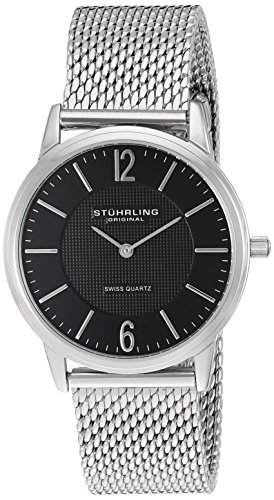 Stuhrling Original Men's 122.33111 Classic Ascot Somerset Elite Swiss Quartz Ultra Slim Black Dial Mesh Bracelet Watch