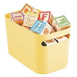 mDesign cesta porta giochi – portagiochi perfetto per la cameretta dei bimbi – porta giochi con manici – colore: giallo