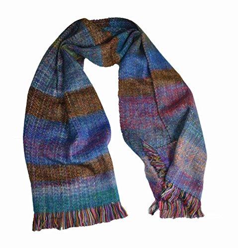 Luxus Hand Made Double Knit Alpaka Mischung Mohair Stil Schal Multi Fushia (Damen-double-knit)