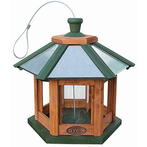 Vogelhaus zum Aufhängen Futterhaus mit verzinktem Metalldach, gebeiztes Kiefernholz inkl. Futterbehälter aus Kunststoff