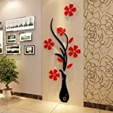 #6: Karigaari India BIG SIZE Blossom Flower Vase Crystal Acrylic 3D Wall Stickers Home Decor - Red