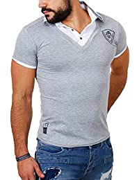 Carisma Herren 2in1 double Look T-Shirt mit Hemdkragen slimfit stretch Kontrast Optik