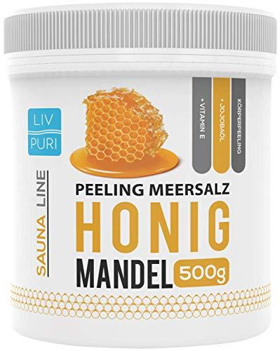 LivPuri Honig Mandel Körperpeeling Meersalz 500g Natürliches Hautpeeling mit Jojobaöl - Ideal in der Dusche, Badewanne, Dampfbad und Sauna anwendbar