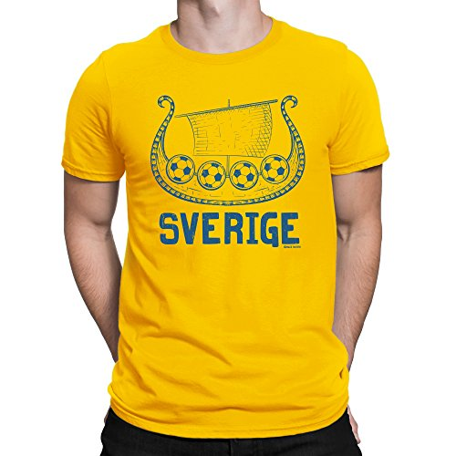 Buzz Shirts ® Mens T-Shirt Sverige Viking Boat Sweden World Cup 2018 Football Patriotic Retro