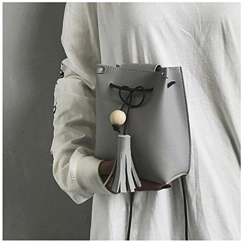 BZLine® Frauen-Süßigkeit-Troddel-Kurier-Beutel-Handtaschen-Schulter-Beutel Grau