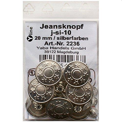 8 Jeans Knöpfe silberfarben 20 mm, Jeansknöpfe Metallknopf, Metall Knöpfe, nähfrei, im Polybeutel, j-si-10
