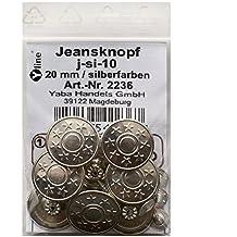 8 Metall- Hosenknöpfe Jeans- Knöpfe altsilber 20mm j-as-09 Nähfreiknöpfe